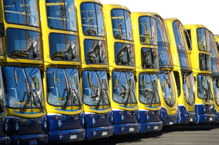 Line Up of Double Decker Buses